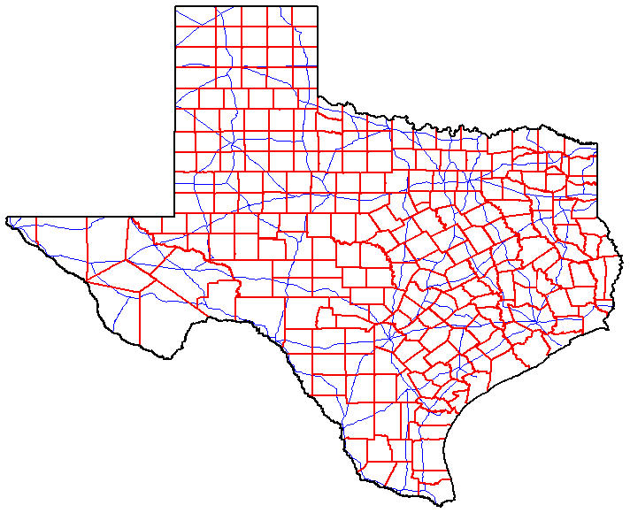 Texas Counties Map With Roads
