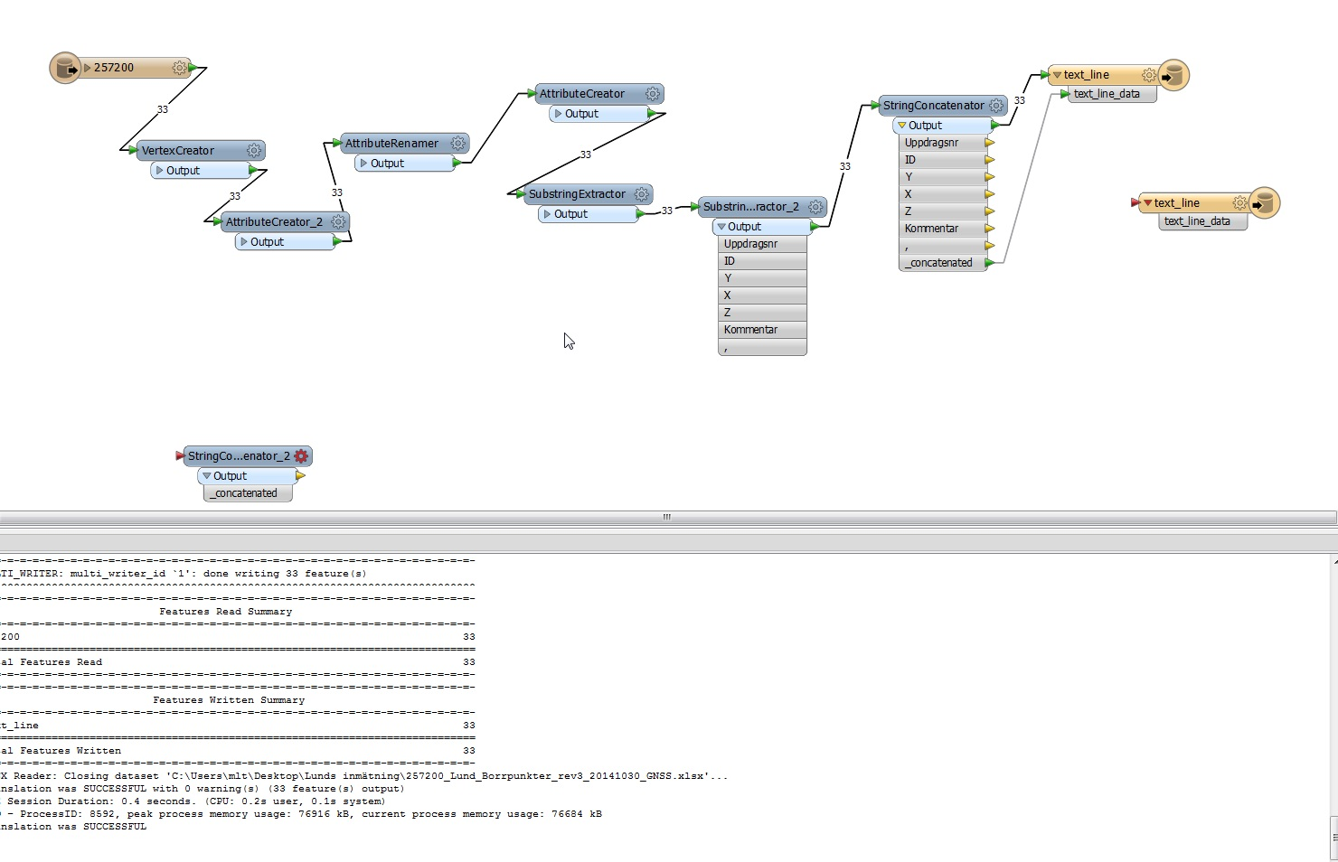 Workspace for generating positioning textfile format