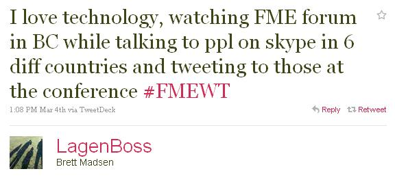 """LagenBoss: """"I love technology, watching FME forum in BC while talking to ppl on skype in 6 diff countries and tweeting to those at the conference #FMEWT"""""""