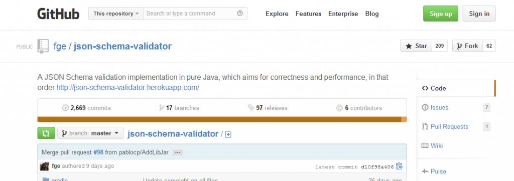 JSON Schema Validator on GitHub