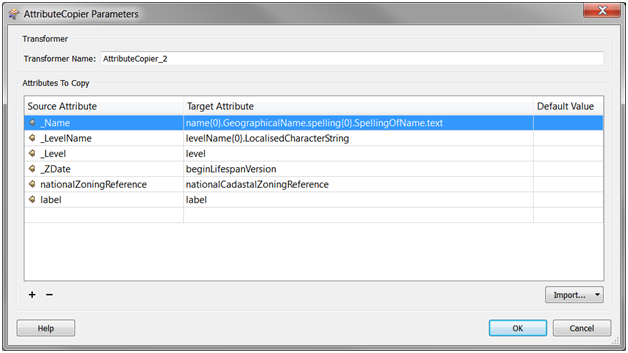 Attribute Copier Parameters