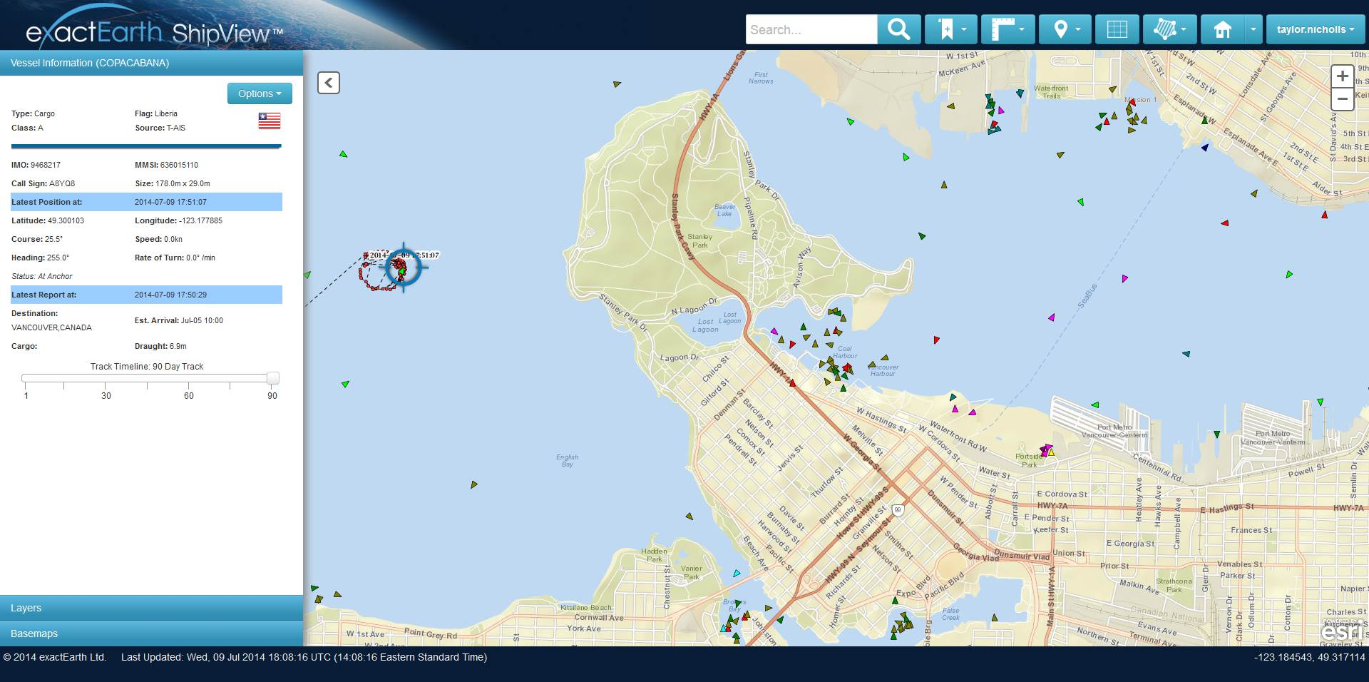 A Liberian-flagged vessel is at anchor in the busy port (and home of FME!) of Vancouver, Canada. (Click to enlarge)