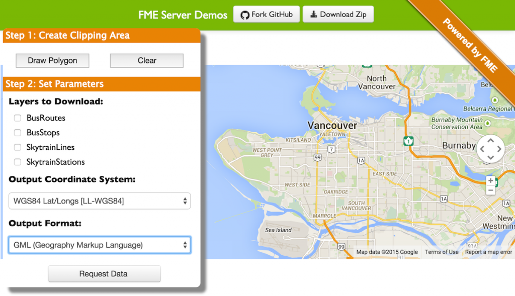 FME Server Google Maps Data Distribution Example