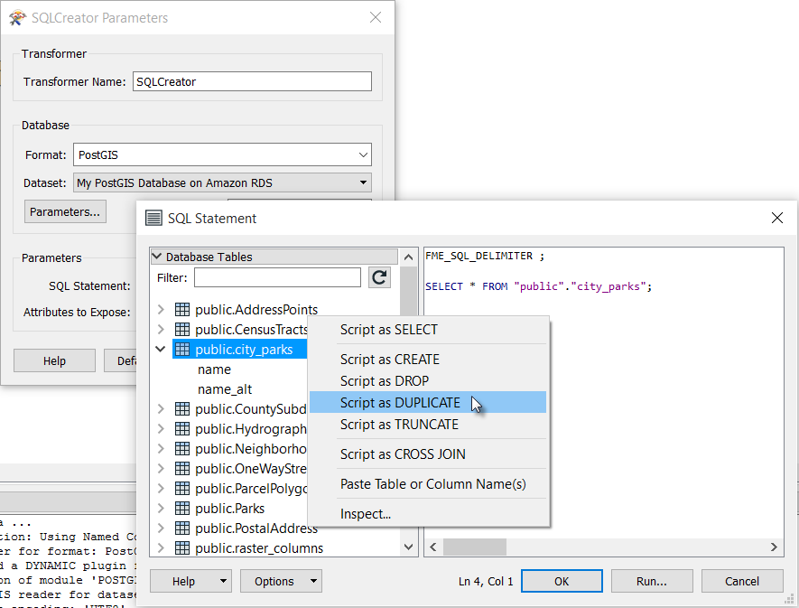 Generating an SQL query in the new SQL editor dialog.
