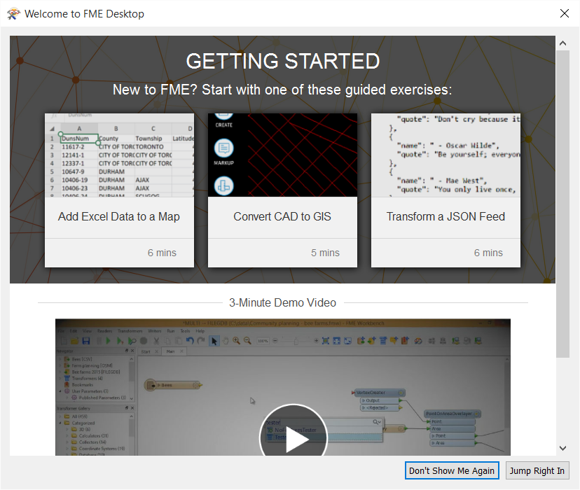 New start page in FME Workbench with introductory tutorials.