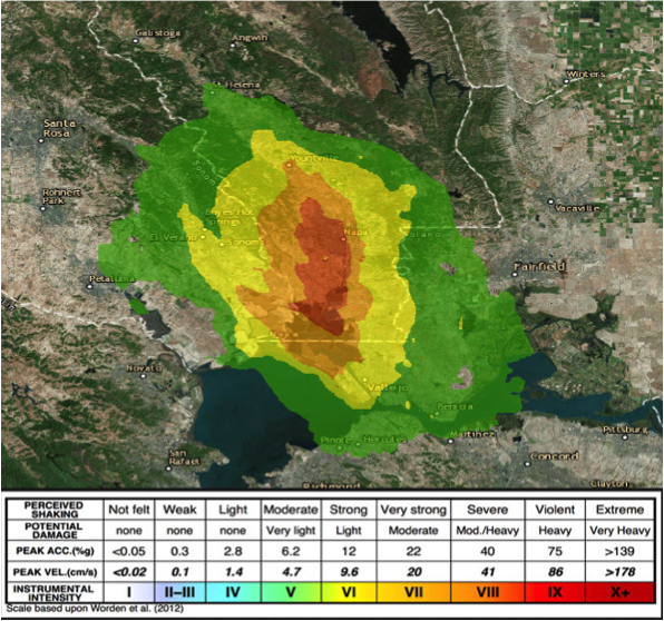 USGS Shakemap for Napa / American Canyon Earthquake, August 24, 2014