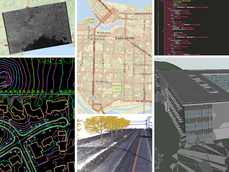 Examples of data sources you can integrate. Clockwise from top left: satellite imagery (rasters), GIS, XML, BIM, LiDAR point clouds, CAD.