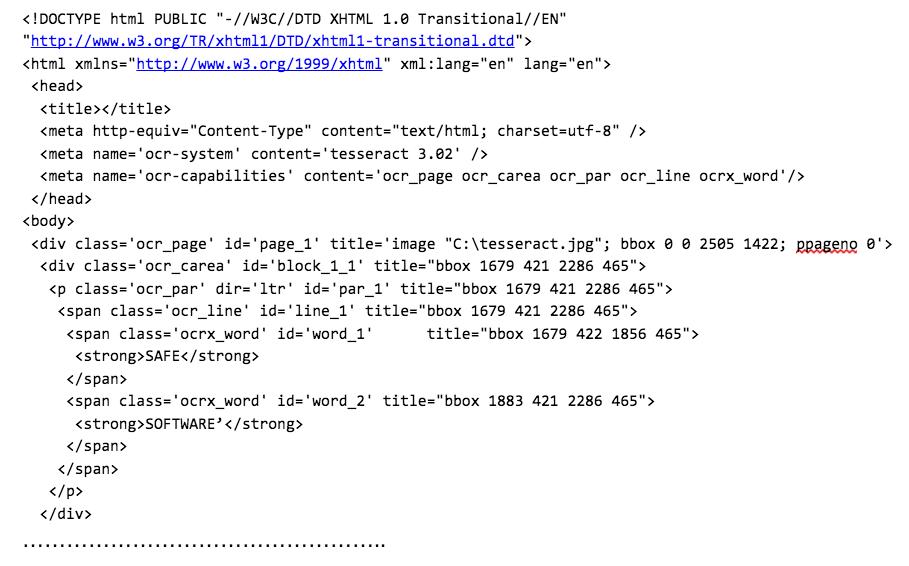 TesseractCaller hocr xhtml output