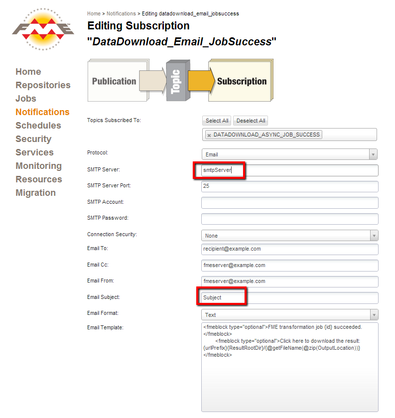 "Editing the ""DataDownload_Email_JobSuccess"" subscription"