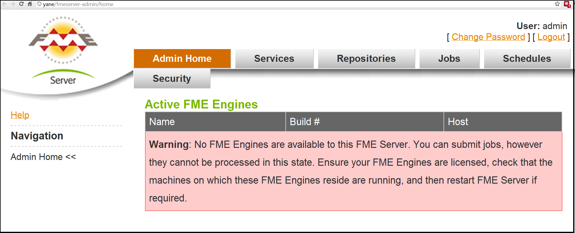 Warning in Admin WebUI showing no FME Engines