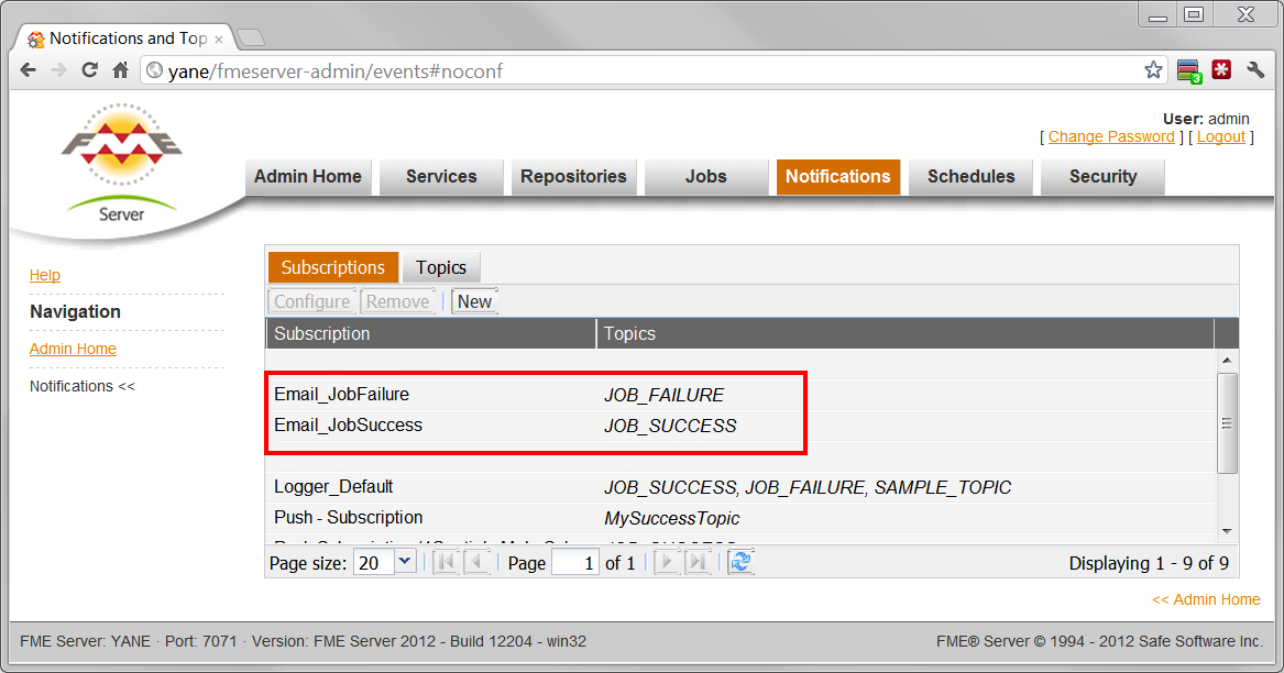 Screen shot of Web Admin UI