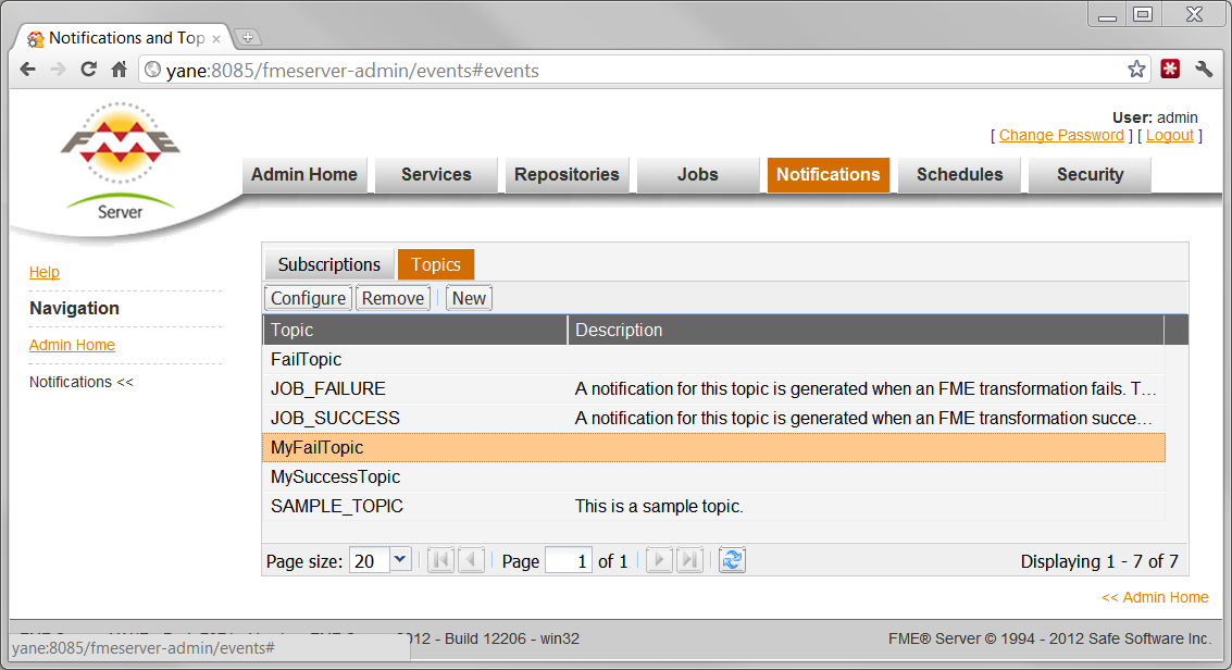 creating Topics in FME Server Web Admin UI