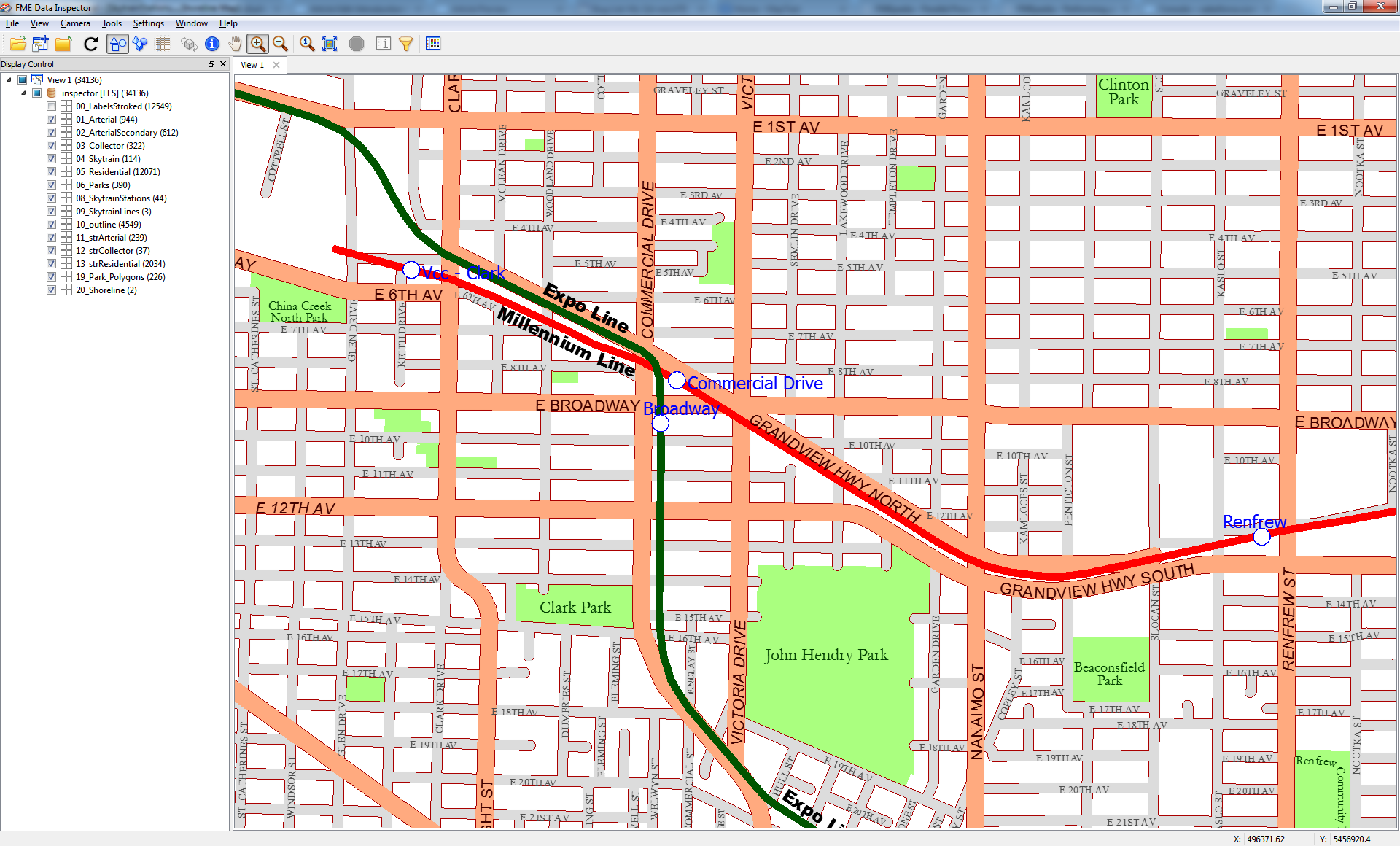 Vancouver Streets output Data Inspector