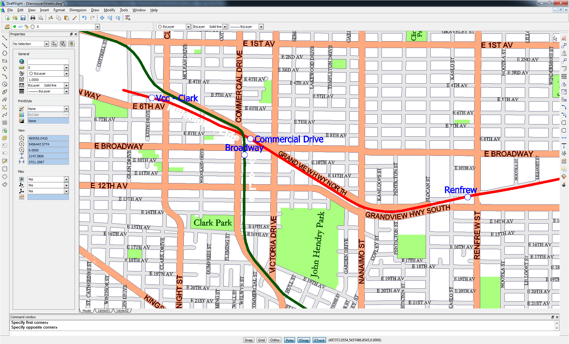 Vancouver Streets output DWG