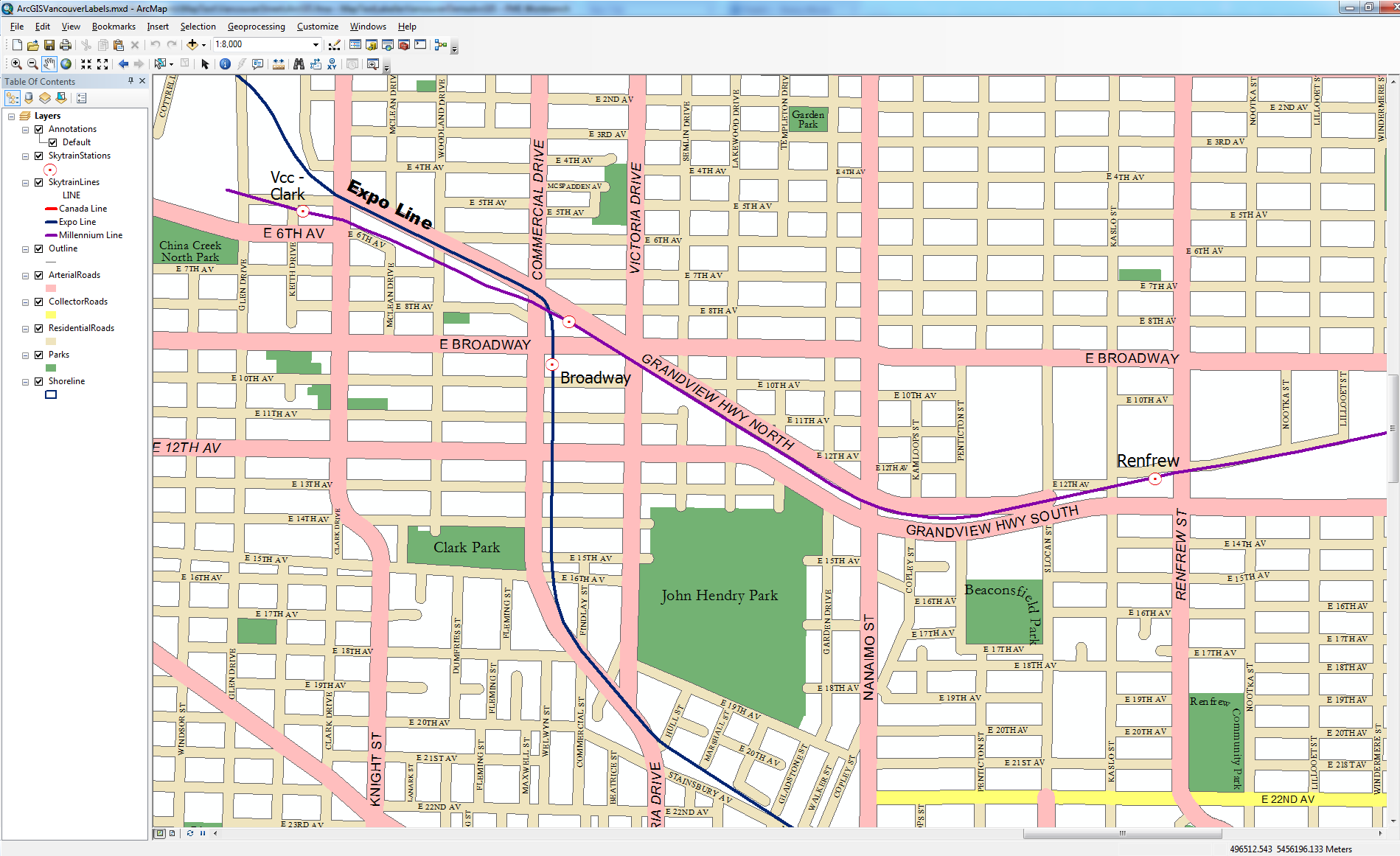 Vancouver Streets output ArcGIS