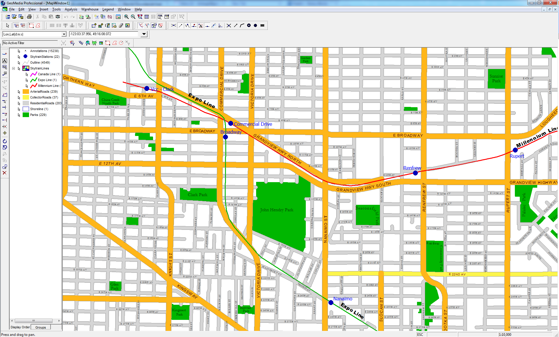 Vancouver Streets output Geomedia