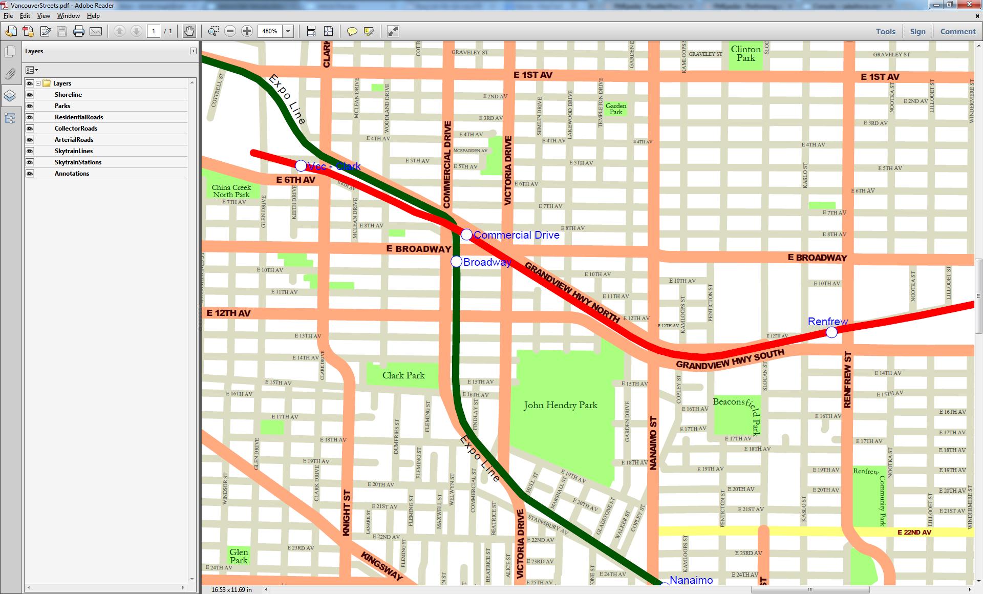 Vancouver Streets output PDF