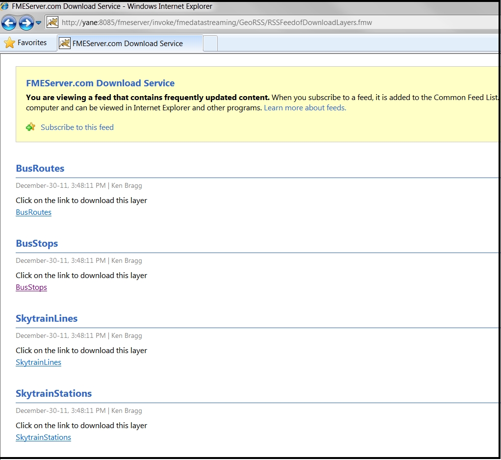 RSS Feeds shown in Browser