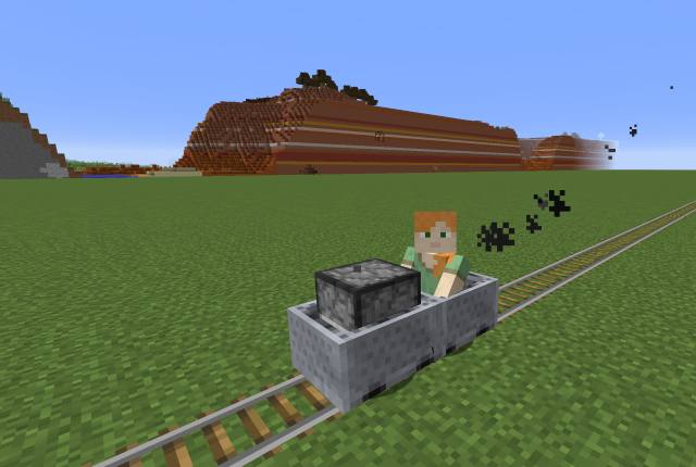 Minecraft Minecart on rails