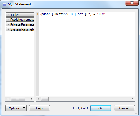 SQL Statement to update the cell value in an Excel spreadsheet