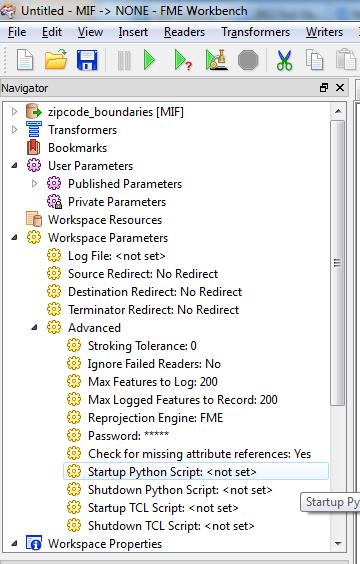 Setting a startup python script workspace parameter