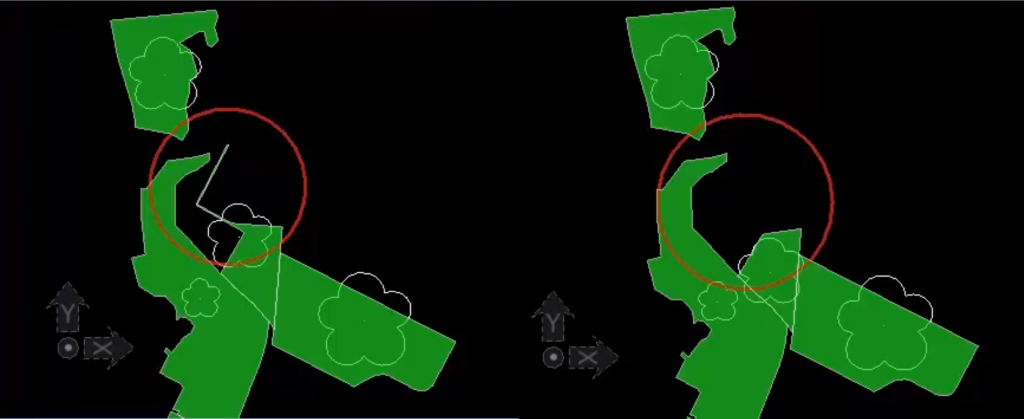 A CAD file with GIS updates applied via a roundtrip data conversion.