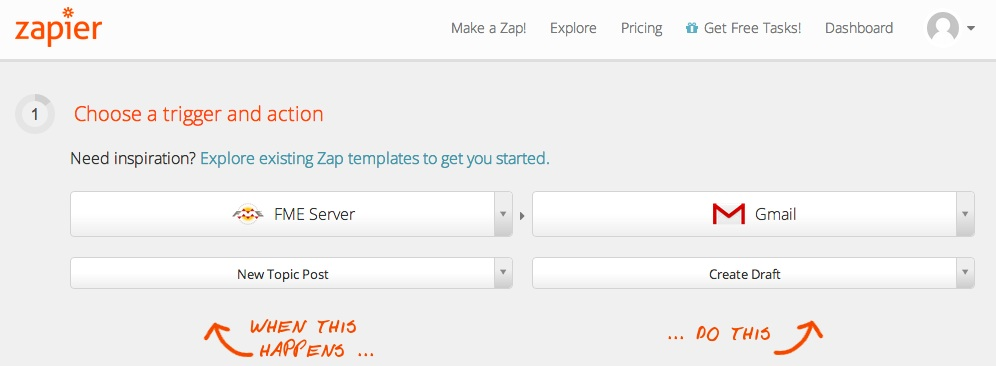 Zapier and FME Server - FME triggers Gmail action