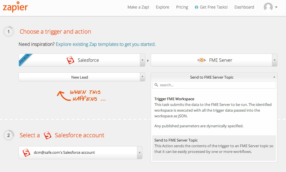 Zapier and FME Server - Salesforce triggers FME action