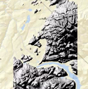 This Canadian Digital Elevation Data has been hill-shaded then overlaid on a background map.