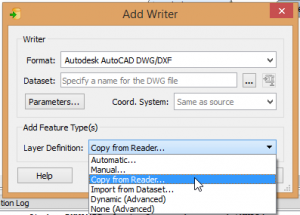 Add Writer dialog with feature type handling options