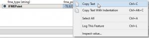 Feature information context menu