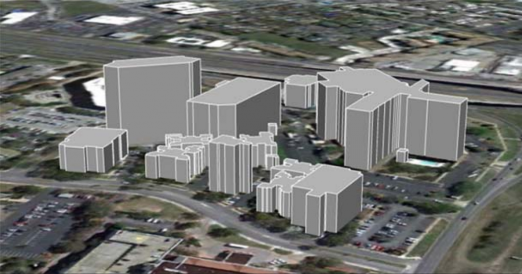 These Esri Geodatabase building footprints have been forced to 3D for opening in Google Earth.