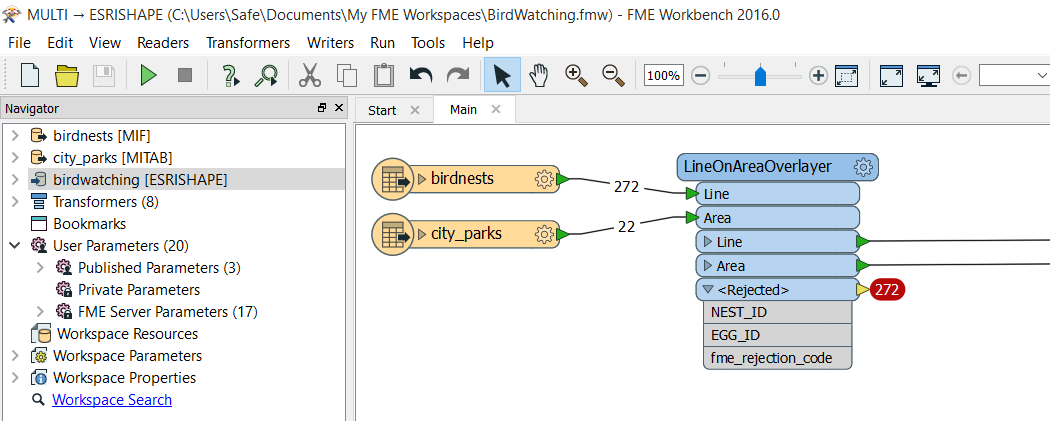 Sample FME workspace that automatically flags bad data.