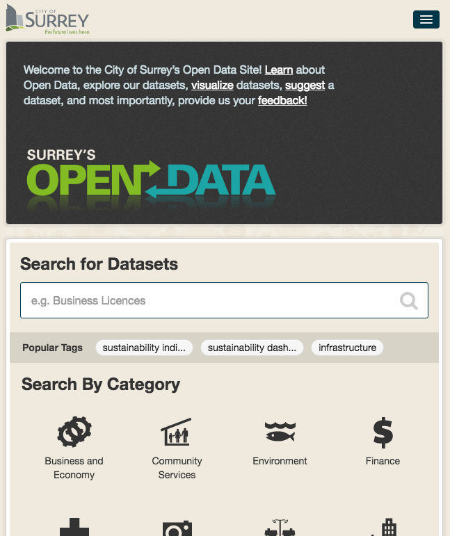 City of Surrey Open Data site