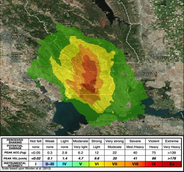 USGS Shakemap for Napa / American Canyon Earthquake, August 24, 2014