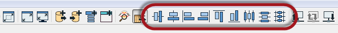 Alignment tools on the toolbar