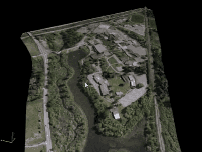 A CAD file in DGN format is used to define the project boundaries for this E57 point cloud, and an ECW raster image is used to define the colours. The result is exported to a 3D PDF for easy sharing.