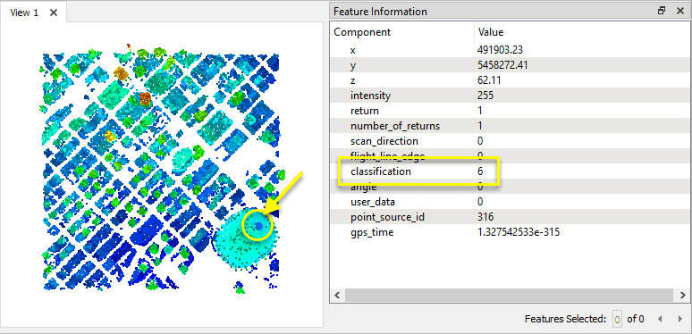 Shows how user has extracted only the buildings from a point cloud by splitting or filtering the points based on their classification